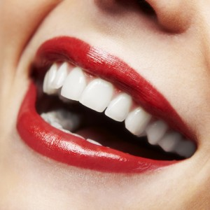 close up smile red lipstick